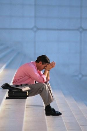 Divorce Helper - Bankruptcy and divorce, sad husband, man on steps